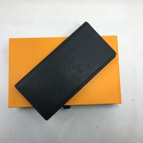 Genuine Leather Suit Wallet Classic Black Long Wallet Clutch Bag Purse for Man 2018 New Fashion Business Men Credit Card Holder Wallet