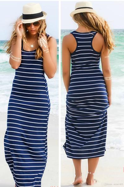 top popular 2018 Causal Striped Maxi Dress Girls Beach Summer Crop Top Vest Dresses Formal Backless Skirt Evening Sexy Women Long Maxi Evening Clothing 2020