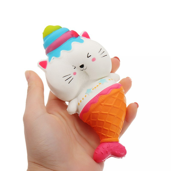 15cm Cute Jumbo Cat Kitty Mermaid Ice Cream Squishy Slow Rising Soft Squeeze Strap Scented Cake Bread Kid Toy Fun Gift