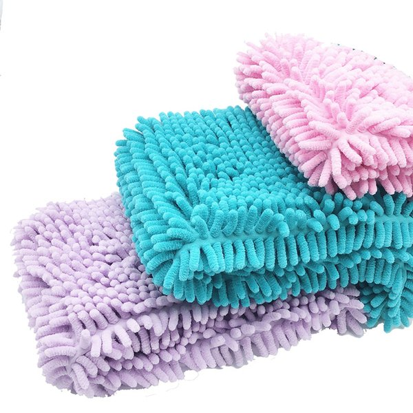 4 Colors Absorbent Microfiber Chenille Cat Dog Towel with Hand Pockets Quick Fast Drying Pet Bathing Towel 35*40/60/80/100cm