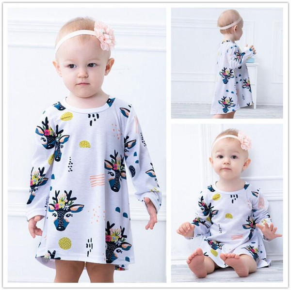 Christmas Baby Girl Clothes Tree Deer Print Cotton Dresses Girls Long Sleeve Dress Toddlers Winter Casual Dress Kids Designer Clothes YL408