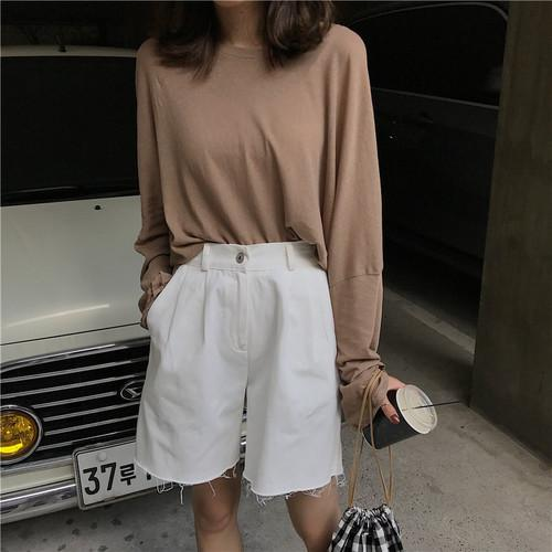 Korean Ulzzang Vintage Loose Soft Cotton Solid Batwing Sleeve Girl Tee Tops Simple College Style Ladies T-shirts