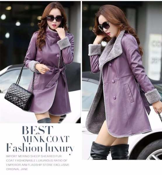New Fashion 2018 Winter Women' Leather fur jacket Single-breasted slim fur coat faux sheepskin Clothing jaqueta feminina jaqueta de couro