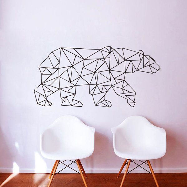Cute Animal Wall Sticker Polar Bear Geometric Art Wall Decal For Living room bedroom home Decoration