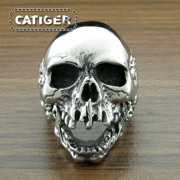 Free Shipping! Size 7-15 New Design Men Boys Huge Skeleton Ring 316L Stainless Steel Popular Fashion Tooth Biker Ghost Skull Ring Jewelry