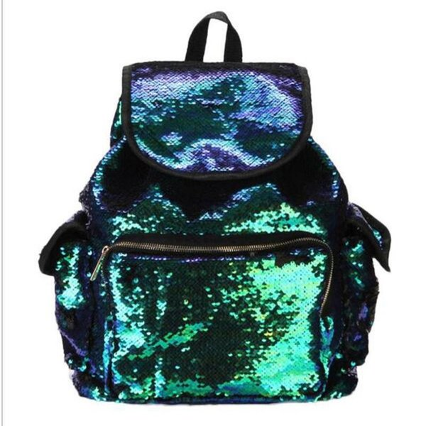 Fashion Women Colourful Girls Backpack Mermaid Sequins Zip Fastener Student School Certificate Hand Bags For Outdoor Travel 47sl ff
