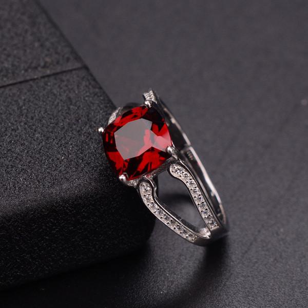 ZT Klassische Frauen 925 Sterling Silber Ringe Weiß Oder Rose Farbe Ringe Natürlicher Granat Schmuck Weibliche Für Frau Ehering