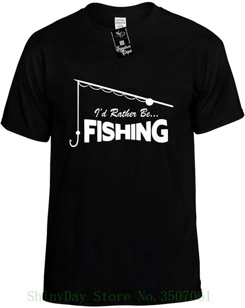 Kids Funny T-shirt ( I'd Rather Be Fisher ( With Pole ) ) Youth Tee Shirt Short Sleeve O-neck Cotton Tshirt