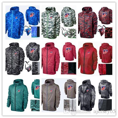 Amerikan takımı erkek colorblock hoodie fermuar ceket fırçalanmış kazak açık rüzgarlık kamuflaj spor