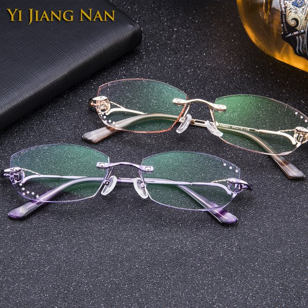 0799593ceabc Yi Jiang Nan Brand Diamond Trimmed Rimless Titanium Eyeglasses Frames Women  Fashion Pink Glasses with Tint Lenses