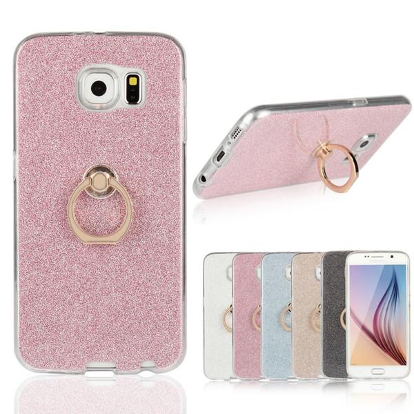 TPU Yumuşak Pırıltılı Toz Arka Kapak ile Dönen Halka Stent kapak Kılıf Samsung Galaxy Için S4 S5 S6 S6edge S7 S7edge S8 S9 Artı