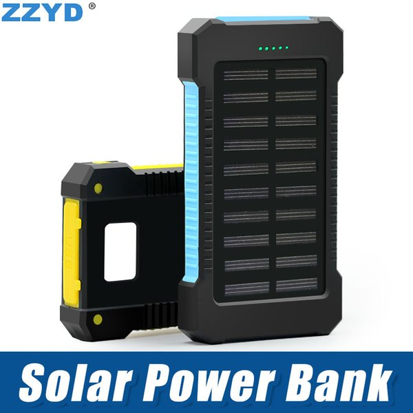 best selling ZZYD Portable Universal 6000mAh Solar Power bank External Battery Pack Dual USB Waterproof Phone Charger For iP 7 8 Samsung S8 Note 8