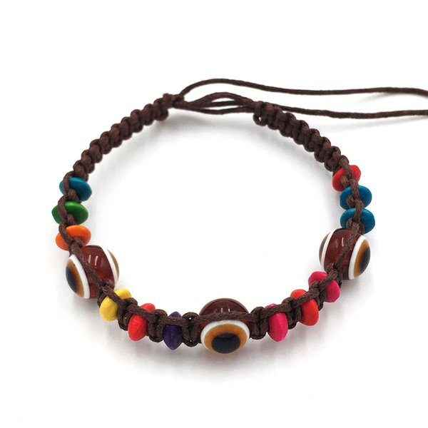 Wholesale 24pcs Evil Eye Bead Bracelet Creative Life Handmade Talismanic Good Luck Charm Protection Bracelet Fashion Jewelry Free Shipping