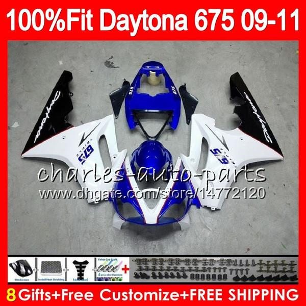 Injection For Triumph Daytona 675 09 10 11 12 Bodywork 107HM.6 Daytona-675 blue white Daytona675 Daytona 675 2009 2010 2011 2012 Fairing
