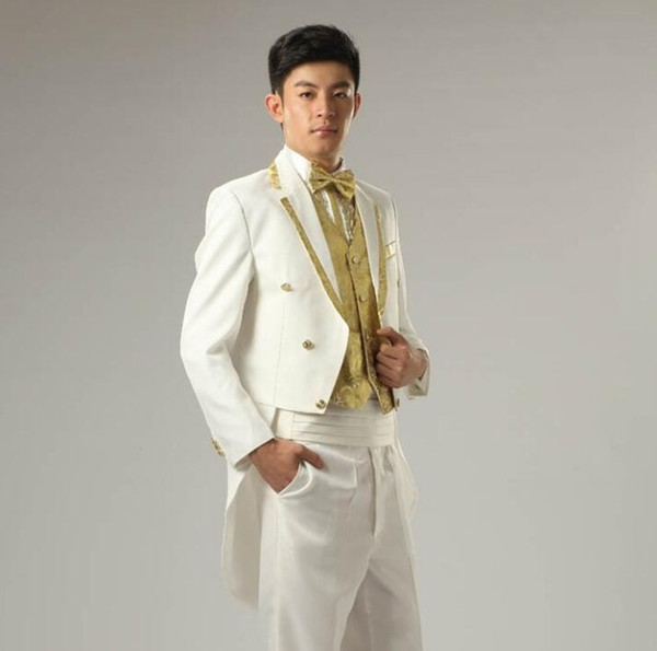 White gold rim stage clothing for men suit set with pants mens wedding suits costume groom tuxedo formal dress suit + pant + tie