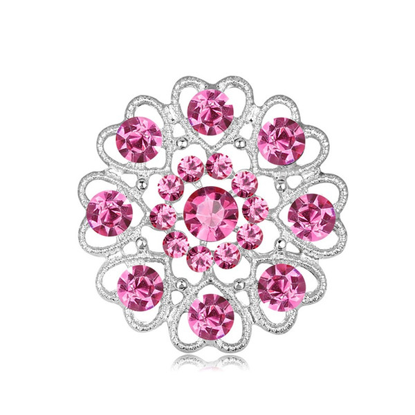 Brand Classic Rhinestone Crystal Flower Brooches For Women Men Wedding Party Fine Bouquet Brooch Pin Mixed 6 Colors For Choose