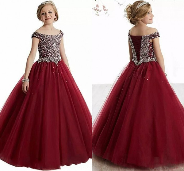 best selling Burgundy Crystals Beaded Girls Pageant Dresses First Communion Dresses Tulle Ball Gown Kids Formal Wear Flower Girls Dresses Corset Back