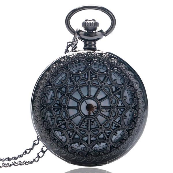 Exquisite Vintage Schöne Web Spider Quarz Taschenuhren mit Halskette Anhänger Kette Uhr Geburtstagsgeschenke Reloj De Bolsillo