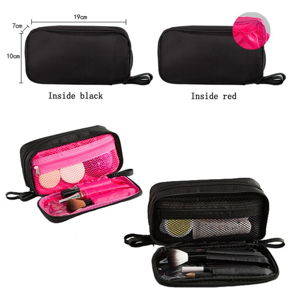 Portable Small Cosmetic Bags Makeup Bag 2018 Women Black double-deck Travel Organizer Professional Storage Brush Necessaries Make Up Case