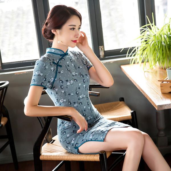 Qualitäts-Blumendruck-Kurzschluss-Hülsen-Qipao-traditionelle chinesische Cheongsam-Leinen-Kleid Qipao-orientalische Kleider-chinesische Art