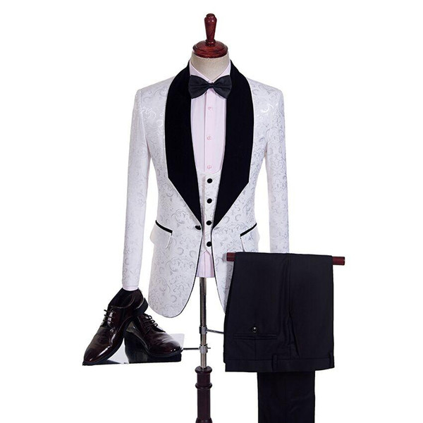 New Style Groomsmen Shawl Black Lapel Groom Tuxedos One Button Men Suits Wedding/Prom Best Man Blazer ( Jacket+Pants+Vest+Bow Tie ) M16