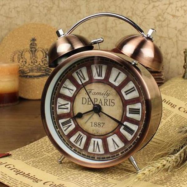 4.3 Inch Alarm Clock Vintage 3D Metal Double Bell Quartz Clock No ticking Bedroom Office Bedside Desk Table Watch