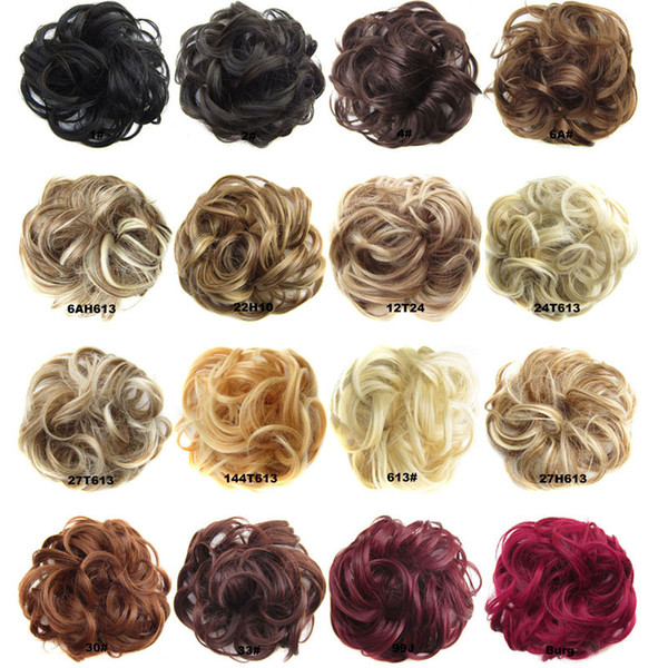Synthetic Hair Chignon Donut Black Brown 45Colors 30g Bun Pad Chignon Elastic Hair Rope Rubber Band Hair Extensions Cheap hot sell