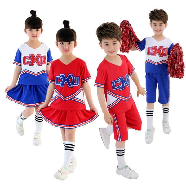KTLPARTY cheerleading student red blue boy girl children Musical Cheerleader Costume Cheer Uniform Fancy suit skirt sock