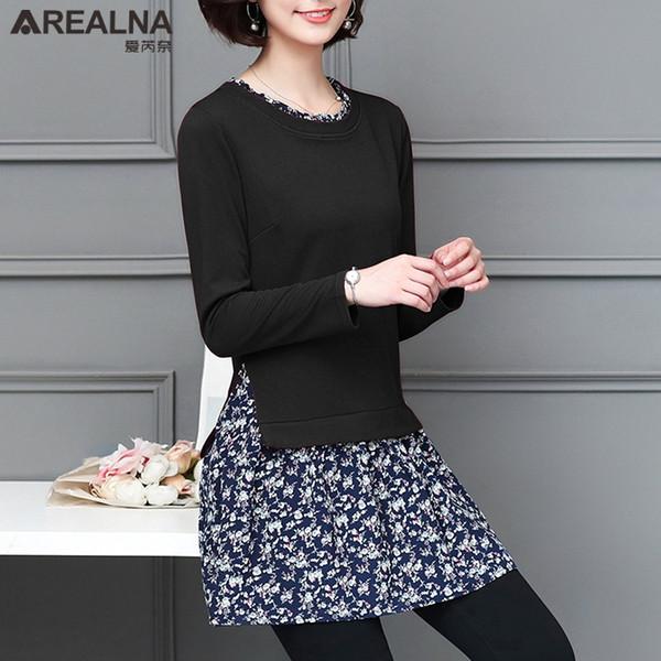 Plus Size 5XL Long Vogue T Shirt Women 2018 Autumn Kimono Slim Tshirt Women Floral Stitch Hippie Hipster Tops Tees Shirt Femme