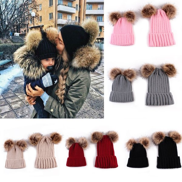 Knitting Warm Hat Winter Beanie Hat Mom And Baby Family Matching Outfits Newborn baby Double fur Ball pop Crochet HAT FFA996 12PCS