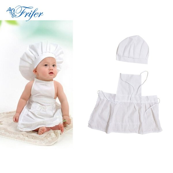 Cute Baby Chef Apron&Hat For Kids Costumes Coon Blended Chef Baby White Cook Costume Photos Photography Prop Newborn Hat Apon