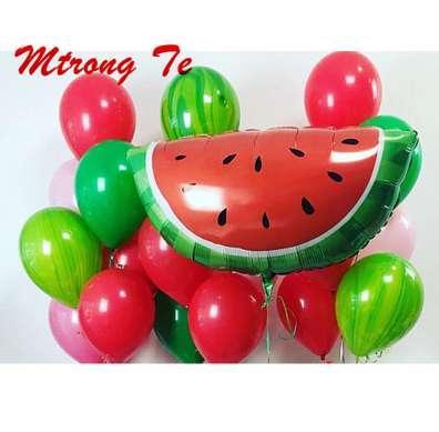 21 pcs Hot Summer Luau Partie Fournitures Pastèque Fruits Marbre Ronde Latex Fête De Mariage Anniversaire Décorer Ballon 10