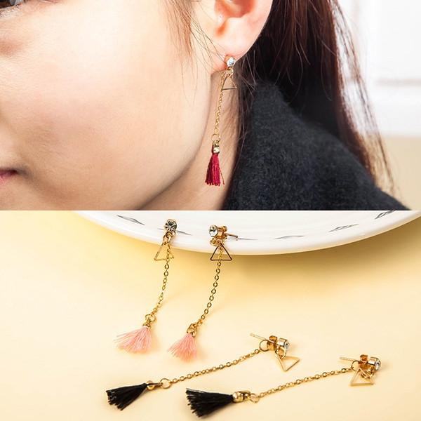Alloy Long Dangles Earrings For Party Jewelry Accessories Tassel Earrings Fashion Fringed Eardrop Ethnic Style Crystal Decor