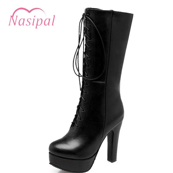 Nasipal 2018 Large Size 33-50 Autumn Winter Brand Mid calf Boots for Women Platform Sexy Lace up Half Boots High Heel Shoes M329