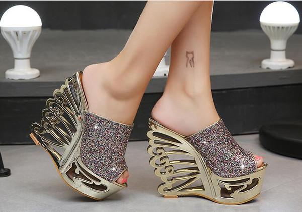 Sexy Ultra High Heel Hang mit Pailletten Gold und Silber Features Persönlichkeit geformt mit Hochzeit Schuhe Brautschuhe 15cm Sandalen und Pantoffeln