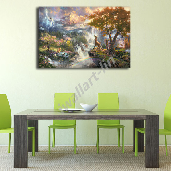 Thomas Kinkade Bambi Poster Canvas Painting Oil Framed Wall Art Print Pictures For Living Room Home Decoracion