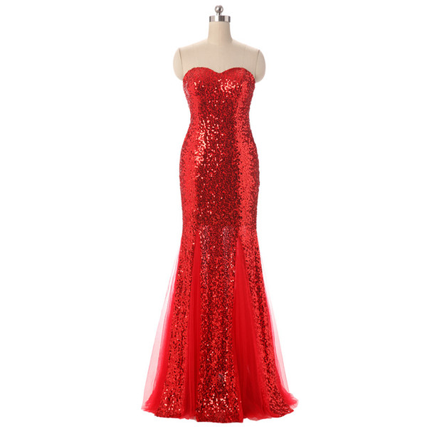Real Photos Women Strapless Sequins Mermaid Red Bridesmaid Dresses Long Plus Size Floor Length Open Back Sleeveless Wedding Party Dresses