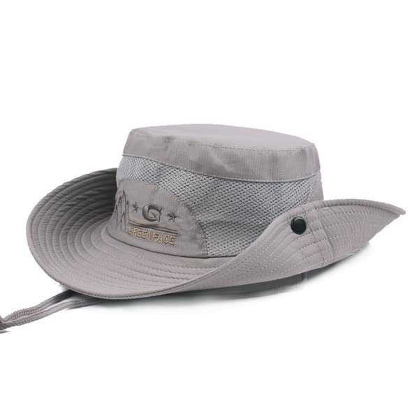 Adult Men's Retro Mesh Ventilation Bucket Hats Summer Wind Rope Fixed Adjustable Size Leisure Sun Hat Novelty Flat Top