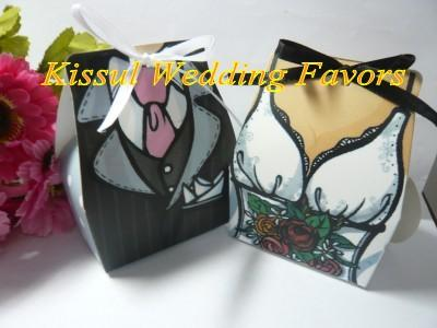 (100 Pieces/lot=50Pairs) European Wedding candy box of TUXEDO and DRESS Wedding Favor Boxes For Wedding Gifts