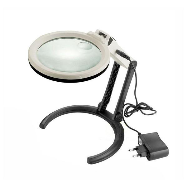 Luces plegables iluminadas retroiluminada 2X / 5X de la lupa de las luces 10 Luces LED de la lupa de la lupa del tipo 120m m del soporte de las luces de la lámpara