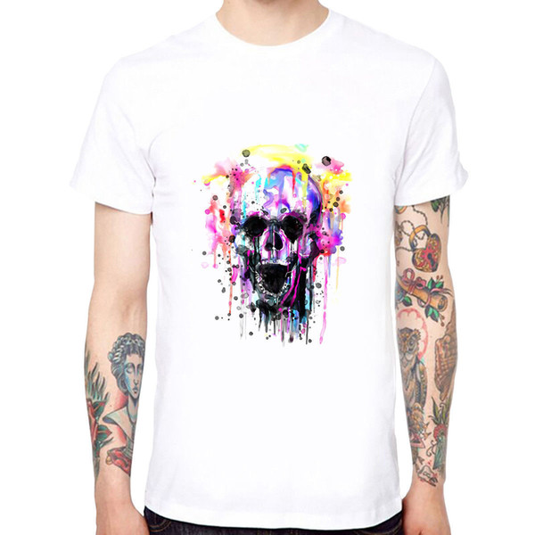 Colorful Skull Men's Cotton Soft Funny Cool T-shirts Short Sleeve Tops Tee New Mens Spring Summer Dress Short Sleeve Casual