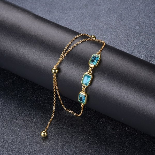 Hutang Blue Topaz CZ 925 Sterling Silver Link Bracelets Yellow Gold Color Gemstone Fine Jewelry Adjustable Bracelet for Women's S18101507