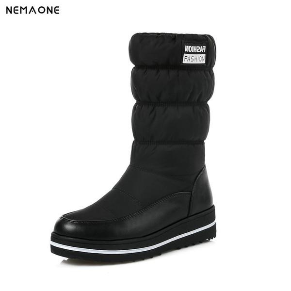 NemaoNe Plus size 35-44 new snow boots women warm cotton down shoes waterproof boots fur platform mid calf black