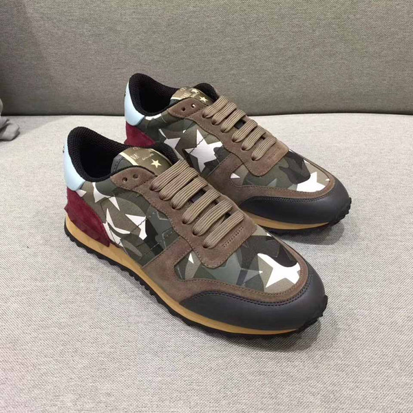 New style fabric and leather camouflage shoes, this elegant tie will make free delivery of the plains sneakers nisex size 36-44Army 019
