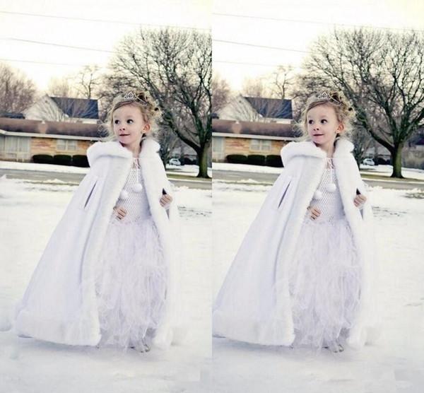 2019 Nuovo economico con cappuccio fiori ragazze Capo Custom Made Per Matrimonio Mantelli Natale Bianco Avorio Faux Fur Winter Wedding Giacca avvolge lungo