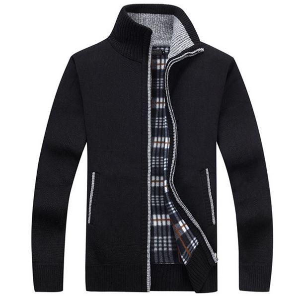 Nuovo 4XL 5XL Mens Fleece Swete Autunno Inverno Warm Cashmere Dress Slim Fat Lana Zipper Casual Sweater Men Knitted Coat