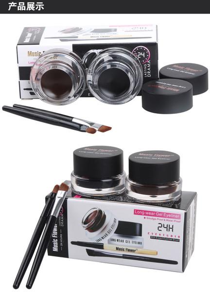 2pcs/lot Brown + Black Music Flower Eyestudio Gel Eyeliner Kit Water-proof Smudge-proof Eye Liner 24H Long Lasting