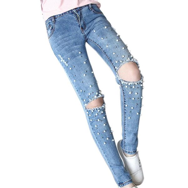 New Arrival Women Jeans with Beads Handwork Pearl Pantalones Vaqueros Mujer Fashion Hole Ripped Jeans Mom New Burr Female Denim Pencil Pants