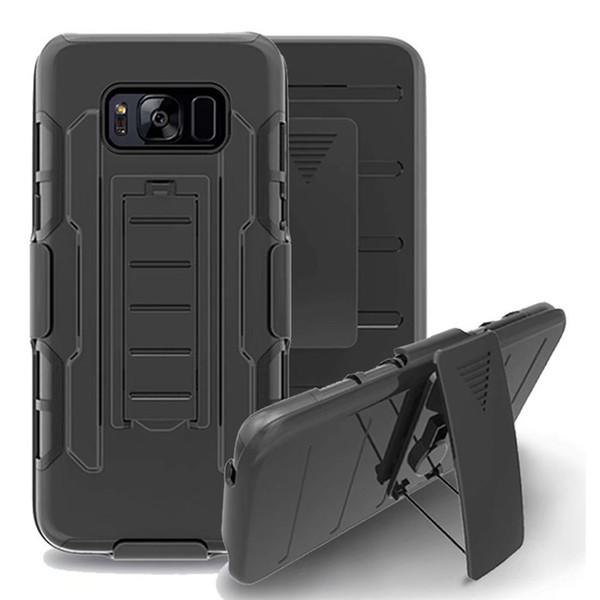 Para Galaxy S7 S6 S5 S4 Activo Mini Futuro Armadura Impacto Híbrido Cubierta de la caja del teléfono duro + Clip de cinturón Soporte de pie Samsung G870 G870A