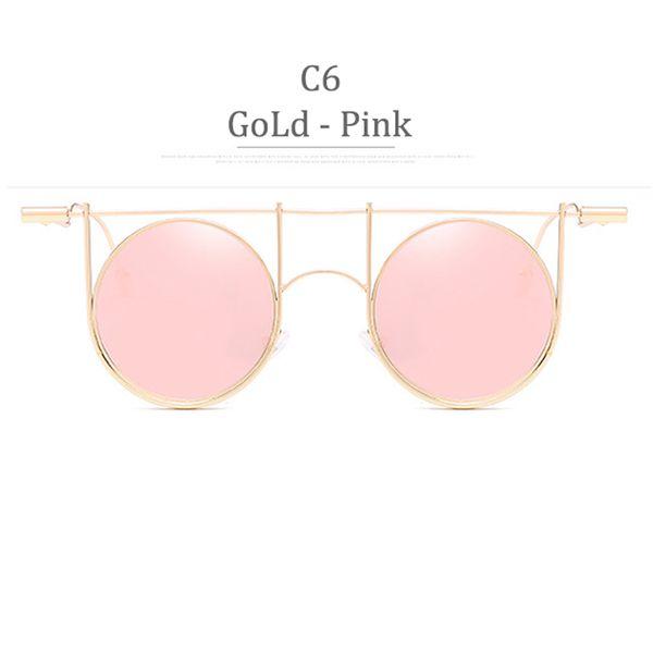 C6 Gold Frame Pink Miror